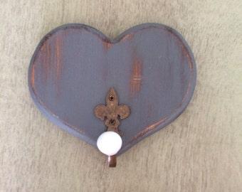 Heart Wall Hook ~ Shabby Chic