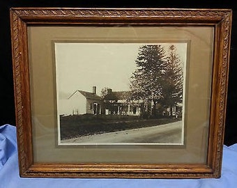 Antique Framed Photo, Farmhouse and barn, Wooden frame with Board Back
