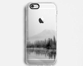 Landscape iPhone 7 Plus case, iPhone 7 case, iPhone 6s plus case, iPhone 6s case, iPhone SE case, clear case, calm black grey C057
