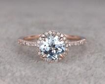 Round 7mm Aquamarine Engagement ring,Diamond wedding band,14K Rose Gold,Blue Gemstone Promise Ring,Bridal Ring,Claw Prongs,Halo,anniversary
