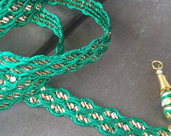Green & Gold Sari Trim