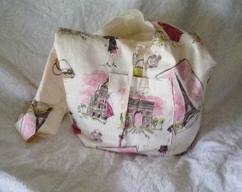 Paris Theme Duck Canvas Tote Bag