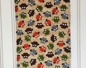 owl  burp cloth-reversible