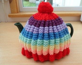 Tea Cosy Rainbow Colours Hand Knitted Traditional Granny Vintage Style