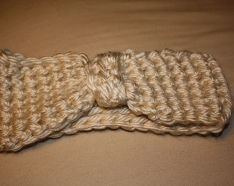 Cream crochet headband