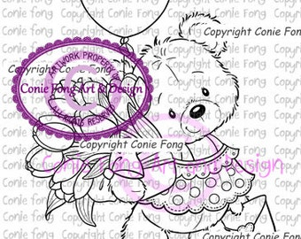 Digital Stamp, Digi Stamp, digistamp, Bella Sending You Smiles by Conie Fong, Coloring Page, Teddy Bear, Valentines, Mother's Day, Get Well
