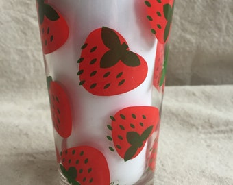 Vintage Colony Strawberries Glass Tumblers- Set of 6