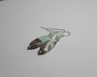 Black gold Amazonite, Sterling silver and faceted Amazonite earrings
