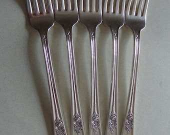 International Silver Rosedale Flatware 5 Grille Forks 1933 IS Silverplate forks Silver Plate