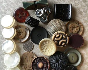 25 Beyond Ugly Jumbo Vintage Coat Buttons Are Waiting To Be Loved, Some Have Shanks, Some Have Holes, For An Especially Unique Project