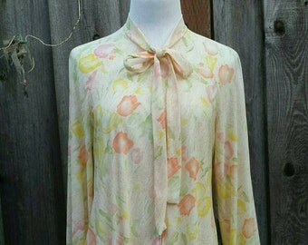 Vintage House Dress Floral Long Sleeve - 70s