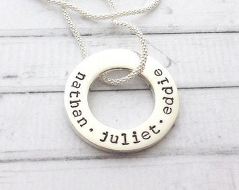 Sterling Silver Luxury Circle of Love Medium Halo Engraved - Hand Stamped Personalised Name Necklace
