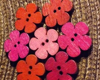 Wooden Flower Buttons double sided for Crafts