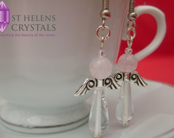 Clear and Rose Quartz Guardian Angel Charm Earrings Available With Matching Pendant Necklace