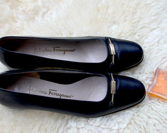 Ferragamo, Pumps, black, size 40, leather shoes, 90, Italy