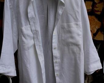 Saleweekend -23.8.! pure linon-shirt, L, white pure, good as new!