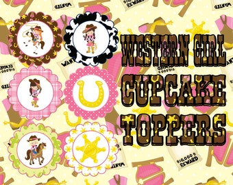 Western Girl Cupcake Toppers- INSTANT DOWNLOAD