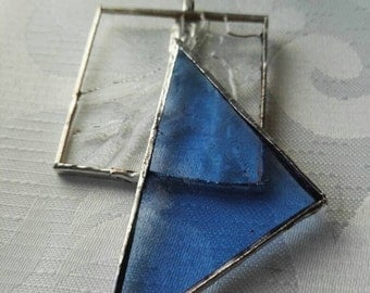 Blue glass necklace, stained glass jewelry, silver pendant