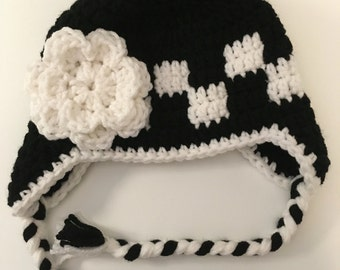 Handmade crochet baby girl racing flag hat, available sizes newborn to adult, black, white, made to order