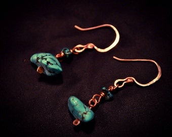 Turquoise Dangle Earrings on Hammered Copper Wire