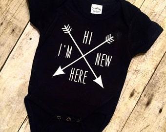 Hi I'm New Here Baby Onesie