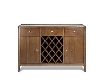 Walnut Mid Century Buffet Wine Rack And Cabinet Storage Dresser Ekais