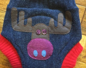Upcycled Wool Diaper Cover MOOSE , soaker liner, bullet proof, night time, cloth diapering,wool shorties, shorties