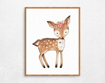 SALEInstant Download, Printable, Nursery Decor, Deer Art Print, Digital Poster for Girls, Animal Printable Poster, Deer Digital Art, #266