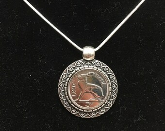 Irish 3d reul coin pendant necklace - hare design irish three pence lucky rabbit