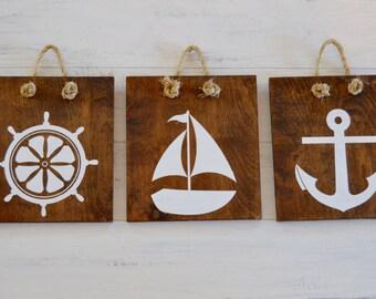 Nautical Wood Signs, Nautical Decor, Nursery Decor, Beach Decor, Beach House, Sailboat, Boating Decor