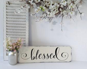 Rustic Wood Sign, Wood Blessed Sign, Wood Sign Blessed, Blessed Sign