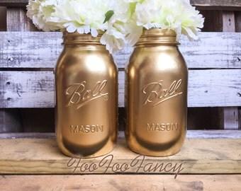 large size gold mason jars. Centerpieces. Home decor