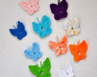 Lot of 10(ten) crochet butterfly appliques