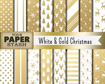 Christmas Digital Paper, Christmas Scrapbook Paper, White & Gold, Gold Stripe, Deer Scrapbook Paper, Stag, Commercial Use, Instant Download