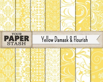 Yellow Damask Digital Paper, Yellow Flourish, Yellow Floral, Filigree, Scrapbook Paper, Digital Paper Pack, Commercial Use, Instant Download