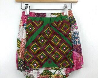 3-4 Years Extra High Waist Kantha Bloomers, Beach Shorties, Hippie Kids, 4T Bloomers, Bohemian Kids