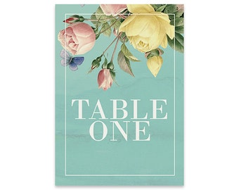 Floral Table Numbers | Springshine | Printable DIY Wedding Invite, Wedding Reception | Blue / teal with pink & yellow flowers