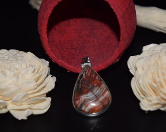 Sterling Silver Crazy Lace Agate Pendant with Chain