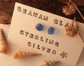 Pale Blue Sea Glass Sterling Silver Earrings