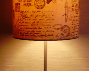 Handmade Lampshade For Standing Table  Bedside Lamp Decoupaged Distressed Lampshade Handcrafted Carte Postale French Script Paris 19 cm Dia