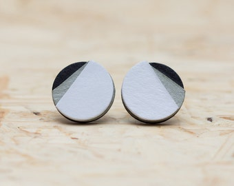 White, gray, black - paper studs - stainless steel