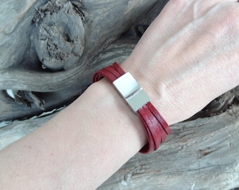 EXPRESS SHIPPING,Women Leather Bracelet,Burgundy Leather Bracelet Multi-strand Cuff,Bangle Leather Bracelet,Women Bracelet,Mother's Day Gift