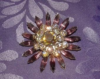 brooch Vintage purple stone
