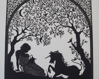 Virgin and Unicorn Lasercut Silhouette