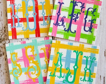 Luxe Monogrammed Enclosure Cards/Gift Tags - PICNIC PLAID - Assorted Color Set of 20