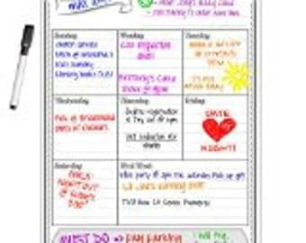 Smart Planner's Weekly Magnetic Refrigerator Calendar Dry Erase Board