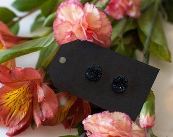 Plain Black Druzy Stud Earrings - Great Bridesmaid Gift!