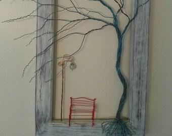 Framed Copper Tree w/Bench