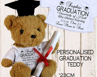 Personalised Teddy Bear Graduation Plaque University College Student Son Daughter Gift Present