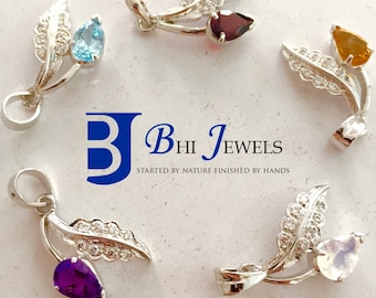 Designer Pendents with Gemstones In Sterling Silver